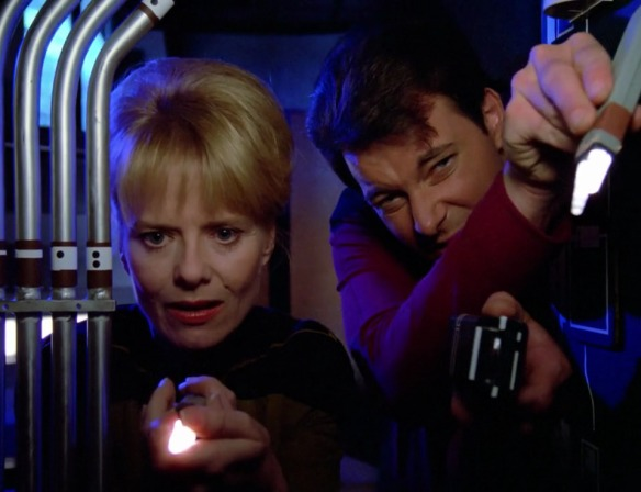 "RIKER: ""You finding any coherent or intelligent plot threads in here?"" ENGINEER: ""Not one, Sir."""