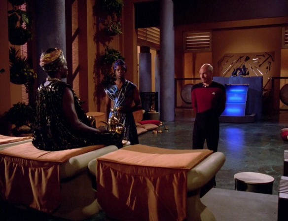 "PICARD: ""I bet Lutan got his shoes at galactic Ross."""