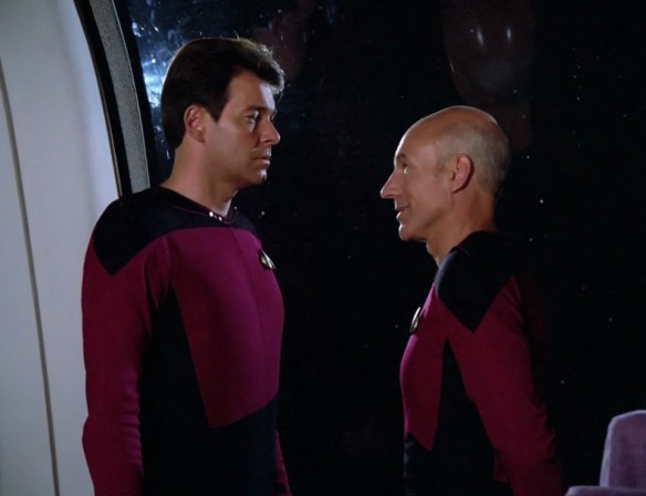 RIKER: Total annihilation, sir? PICARD: It's that or keeping saying this dialogue with a straight face.