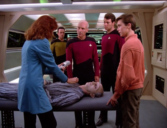 DR. CRUSHER: As far as I can tell, he passed out during the ballad stages and is now in a coma of boredom. PICARD: He was probably trying to spare himself from the YG hip-hop stage.