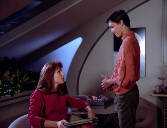 DR. CRUSHER: Son, I'm concerned you're wearing a repeat outfit and it's only the next episode.
