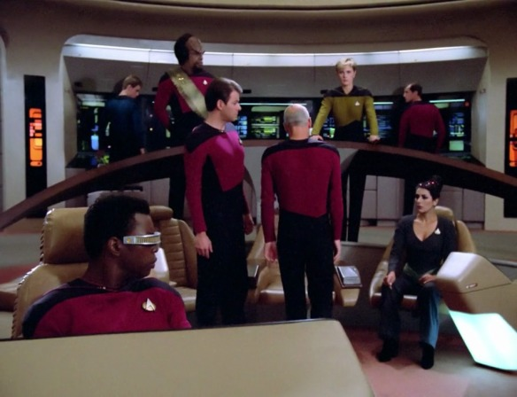 "RIKER: ""And here I was questioning his competence by letting Wesley on the bridge."""