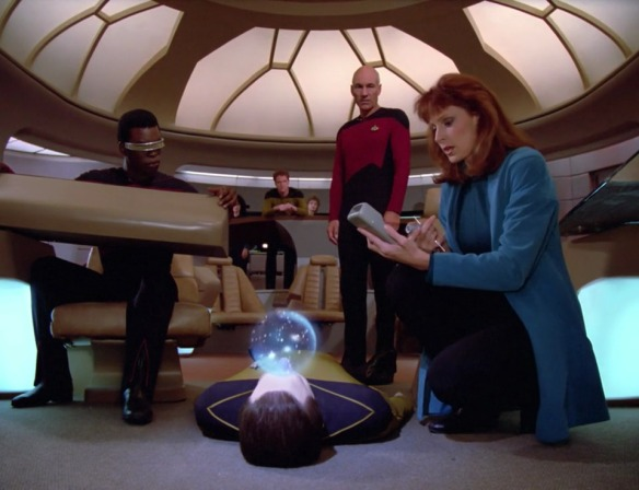 "DR. CRUSHER: ""In fact, I'd say being unconscious for this episode makes Data better off than the rest of us."""